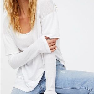 4/$25 Free People magic tee layered white